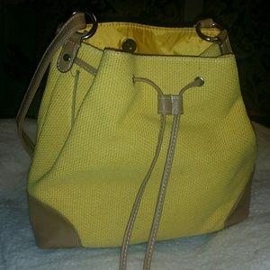 Handbags - Beautiful Yellow Tweed and Leather Handbag